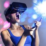 Young, short hair, modern woman amazed with virtual reality